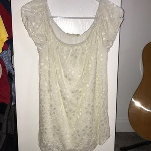 Off the shoulder lace cream colored top